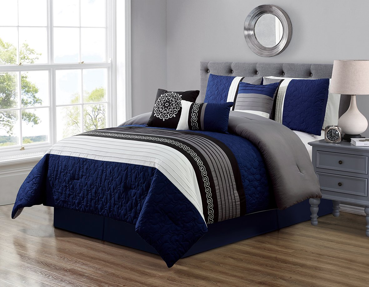 7 Piece Navy Blue/Grey/Black/White Scroll Embroidery Bed In A Bag Microfiber Comforter Set (Double) FULL Size Bedding. Perfect For any Bed Room or Guest Room