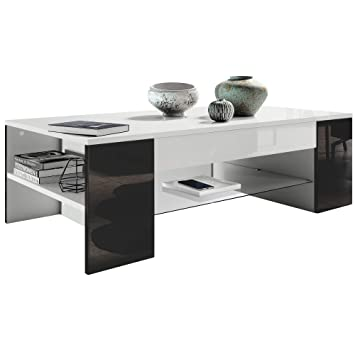 Vladon Table De Salon Table Basse Clip En Blanc Avec Des Bordures En Noir Haute Brillance