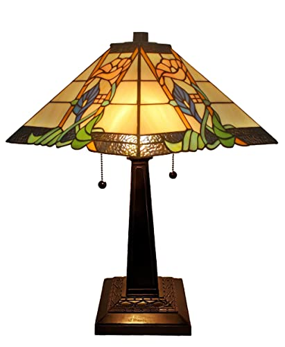 Amora Lighting Tiffany Style Table Lamp Mission 23 Tall Stained Glass Yellow Orange Green Flower Antique Vintage Light D cor Nightstand Bedside Living Bedroom Handmade Gift AM058TL14B, Multicolored