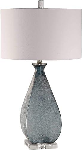 Uttermost Atlantica Acid Etched Ocean Blue Glass Table Lamp
