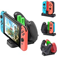 [New Version]Charger for Nintendo Switch Pro Controllers and Joy-Cons,Charging Stand for Nintendo Switch with 2 Type-C…