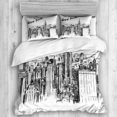 AXEDENRRT Twin 2 Pieces Perfect Print Winter Duvet Cover Bedding Kids Adults Skyscrapers Sketch Style Downtown Vintage New York Hand Drawn Urban Scenery with Pillowcases Bedding Set: Home & Kitchen