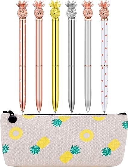 Juego de 6 bolígrafos de punta redonda y estuche para lápices de piña para la escuela o el hogar: Amazon.es: Oficina y papelería