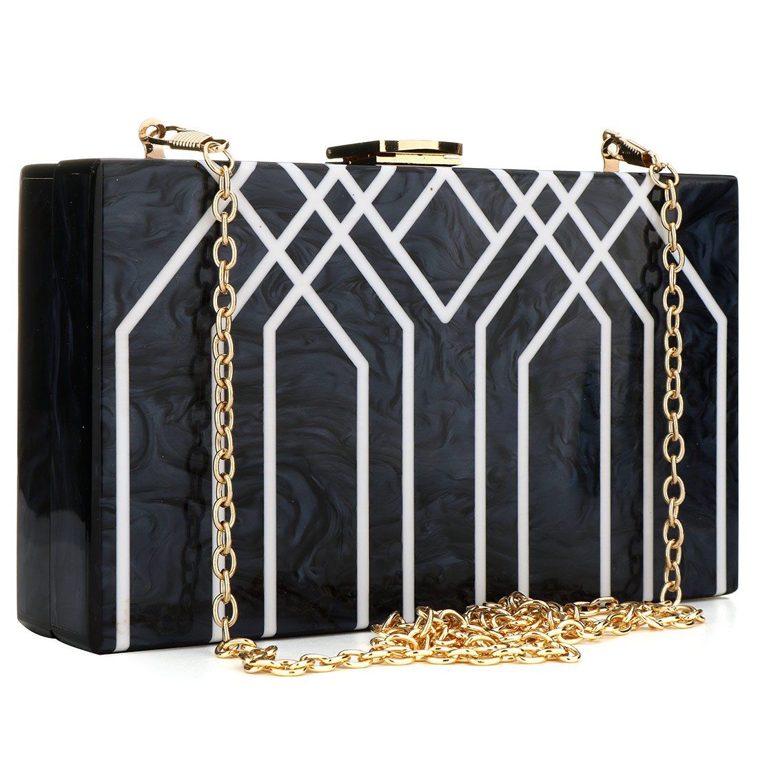 Evening Handbag Box Acrylic Clutch Stripes Shoulder Bag for Party (Black) by KNUS (Image #1)