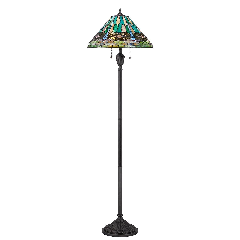 Quoizel TF1508FVB King Tiffany Dragonfly Floor Lamp, 2-Light, 200 Watts, Vintage Bronze 62 H x 18 W