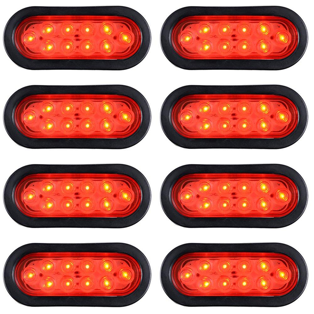 Astra Depot 8pcs Oval Oblong Clear Lens RED Light LED Brake Stop Running Tail Lamp w//Grommet Plug Truck Trailer RV UTV