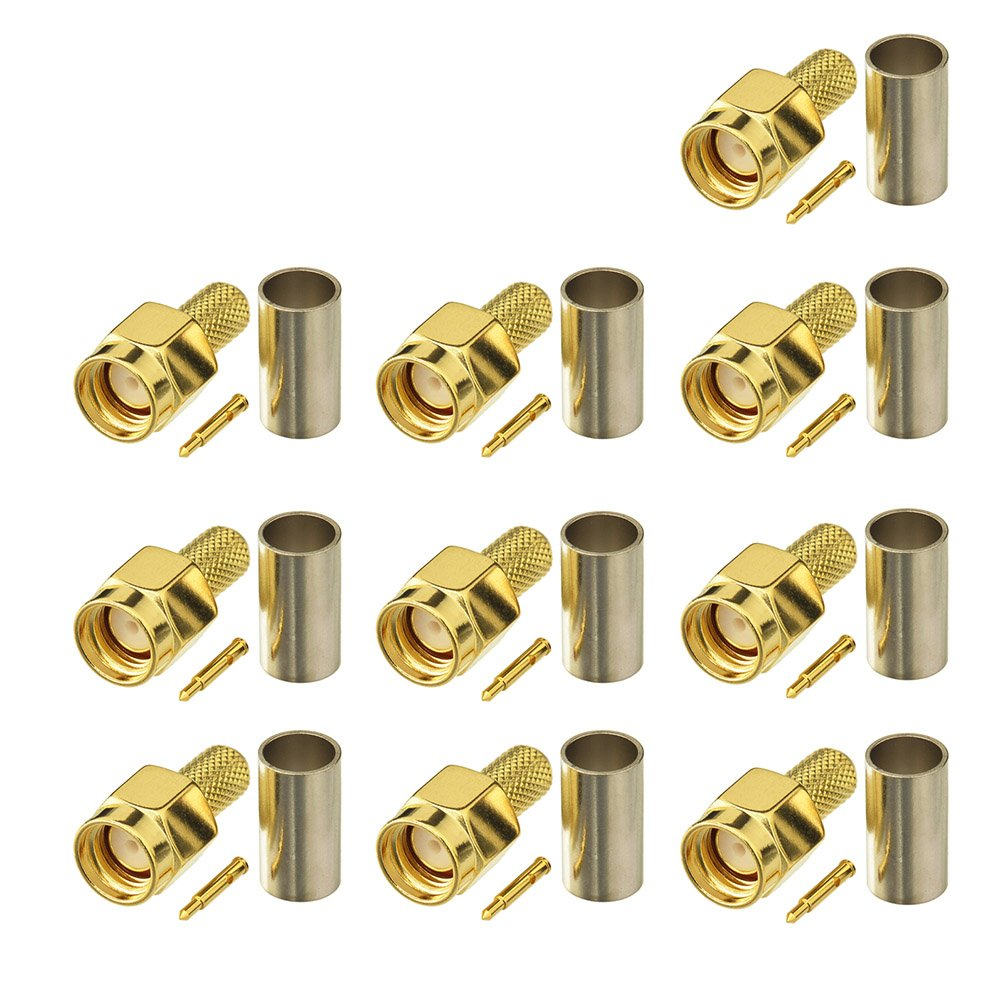 Eightwood SMA Connector SMA Male Right Angle Connector Crimp for RG58 Ham Radio Transceiver 10pcs RFSolution EWST801GE