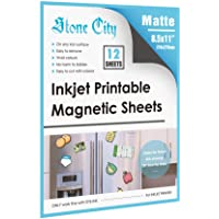 Stone City Magnetic Sheets Printable Matte Paper 12mil Thick for Inkjet Printers 8.5x 11 Inches 12 Sheets