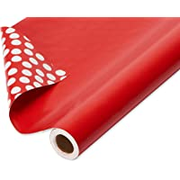 American Greetings Reversible Wrapping Paper Jumbo Roll, Red and Black Plaid and Polka Dots (1 Pack, 175 sq. ft.)