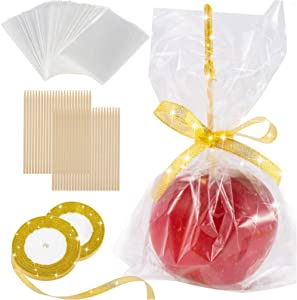 DIY Candy Apple Making Accessory Kits-Include 48 Pcs Bamboo Sticks & Parcel Bags and 2 rolls of 25 yd Glitter Ribbon Large Lollipop Pop Kit for Fruit Cookie Wrapping Buffet Party (Gold)