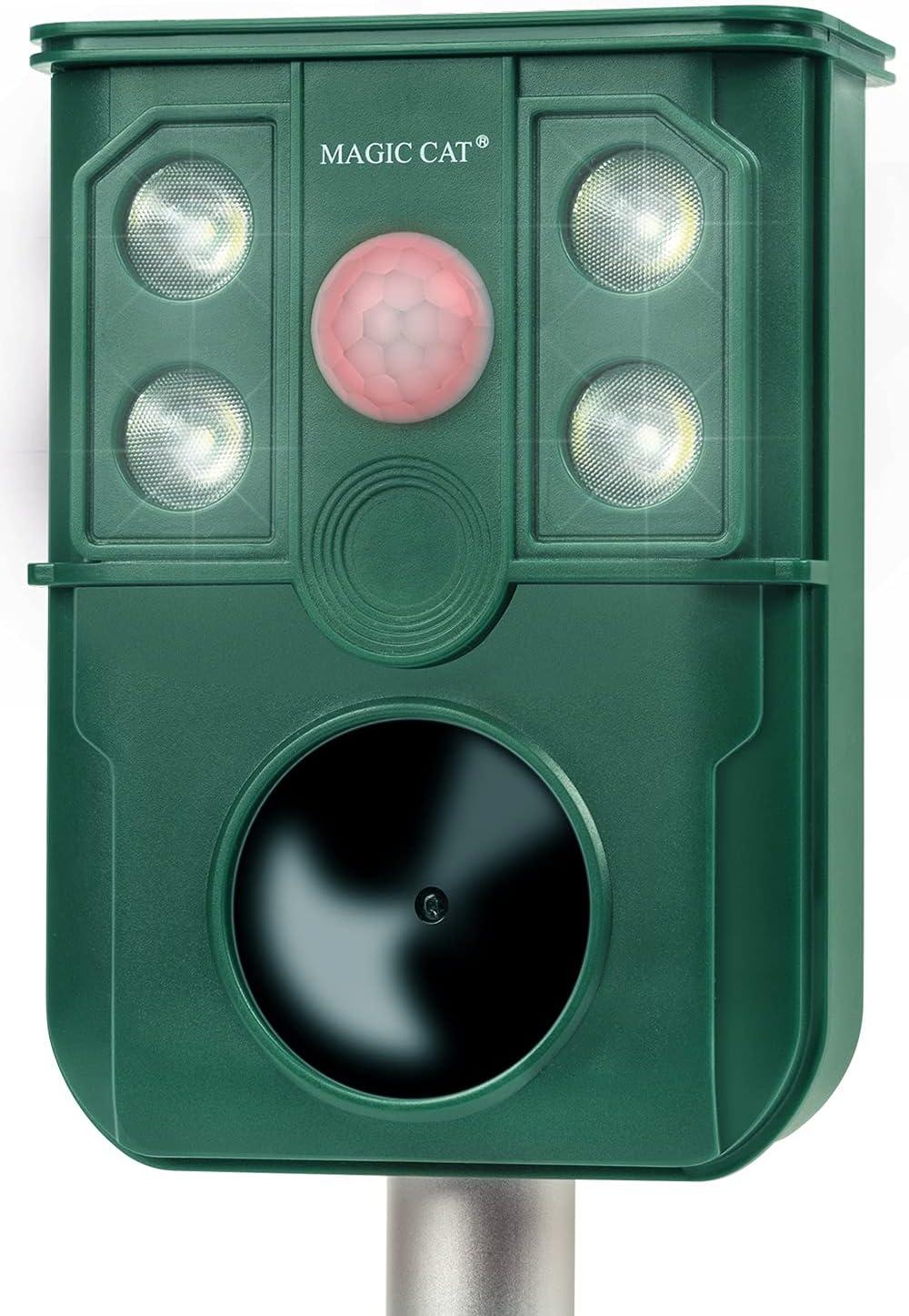 MAGIC CAT Solar Animal Repellent, Ultrasonic 5 in 1 Animal Repeller with Motion Sensor & Flashing Light, Waterproof Garden Yard Farm Repellent for Cat, Dog, Rat, Raccoon, Skunk, Squirrel, Deer, Rabbit