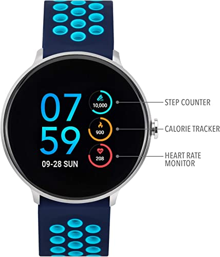 iTouch Sport Round Smartwatch with Waterproof Technology, Heart Rate Monitor, Multi-Sports Mode, Pedometer, for Android and iOS Smart Phones – Perforated Silicone Strap Navy Turquoise