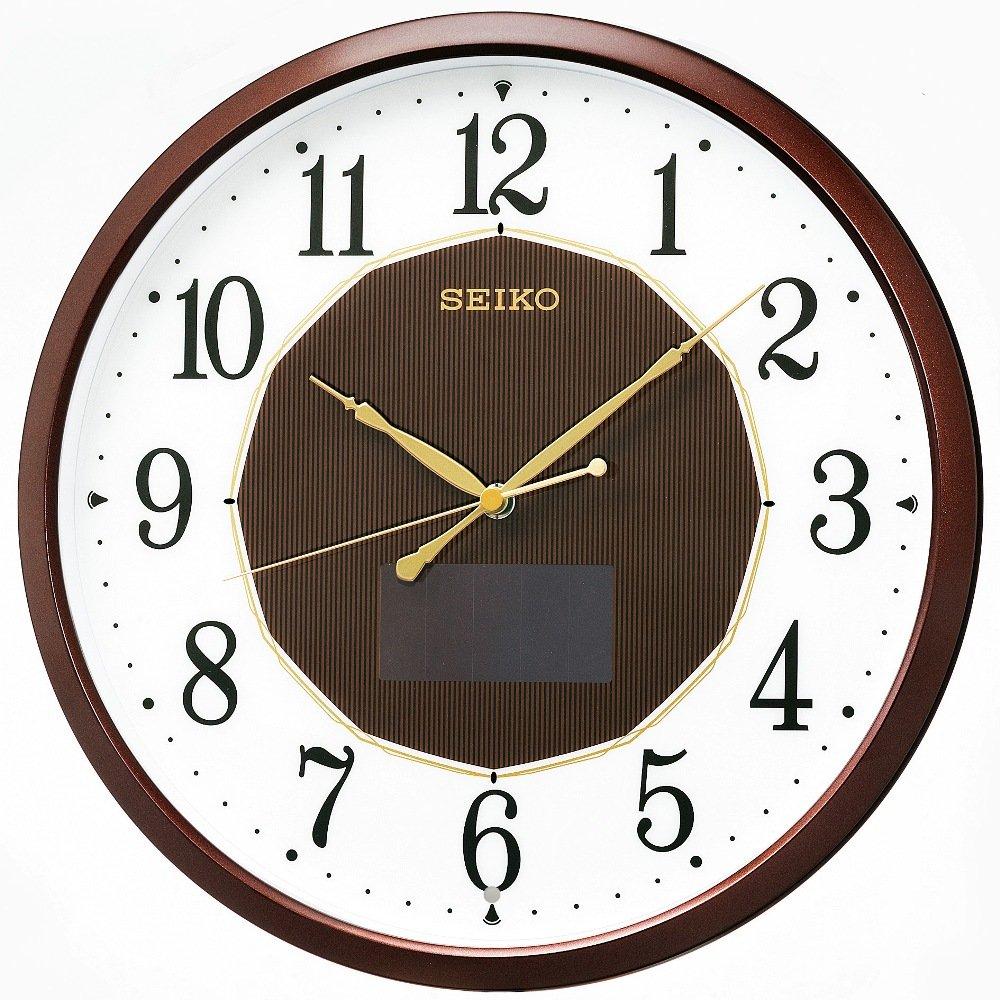 セイコー クロック 掛け時計 ハイブリッドソーラー 電波 アナログ 茶 メタリック SF241B SEIKO B00CPIYNPS