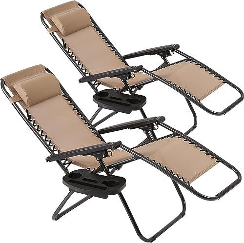 Vnewone Zero Gravity Chair Set of 2 Patio Folding Anti Reclining Lounge Deck Foldable Yard