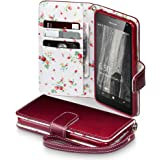 Lumia 650 Case, Terrapin [Red] [Floral Interior] Premium PU Leather Wallet Case with Card Slots Cash Compartment and Detachable Wrist Strap for Microsoft Lumia 650 - Red