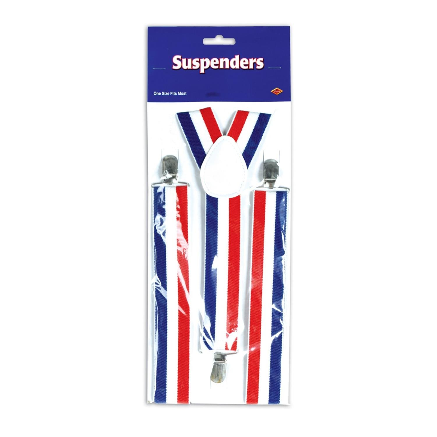Club Pack of 12 Red, White and Blue Patriotic Adjustable Suspender Costume Accessories by Party Central