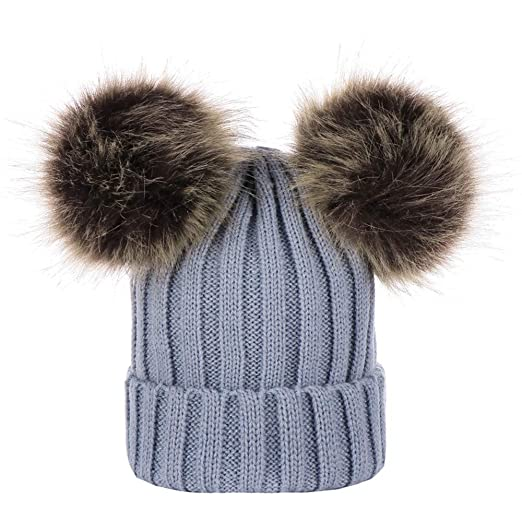 b0b3e06f9ee Mommy   Me Mother Child Winter Warm Soft Knit Beanie Wool Hemming Hat with Pom  Pom