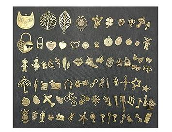 81pcs Vintage Metal charms DIY colgantes decoración con 1 cerradura con llave para hecha a mano para hacer bisutería, pack de 81, marrón, TypeA-HearLock: ...