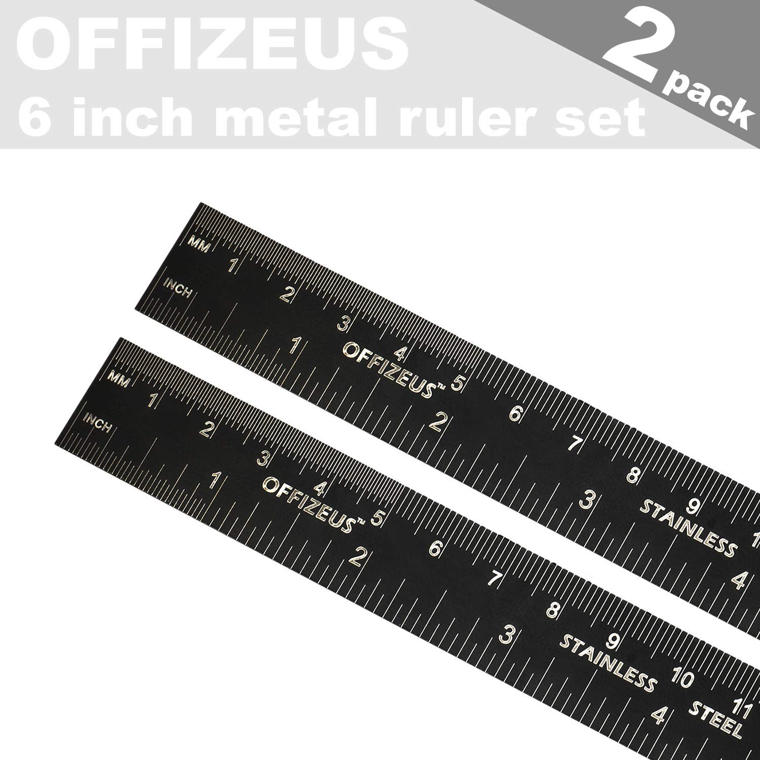 OFFIZEUS Metal Rulers 6 Inch Steel Rulers with Inches and Centimeters Ideal Small Ruler for School and Office 2 Pack Includes Conversion Table