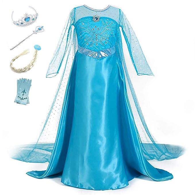 YOSICIL Vestido de Princesa Elsa Vestido Frozen Niñas Disfraz Traje de Cumpleaños Ninas Fancy Dress Nina Disfraz Elsa Princesa Cosplay con Accesorios ...