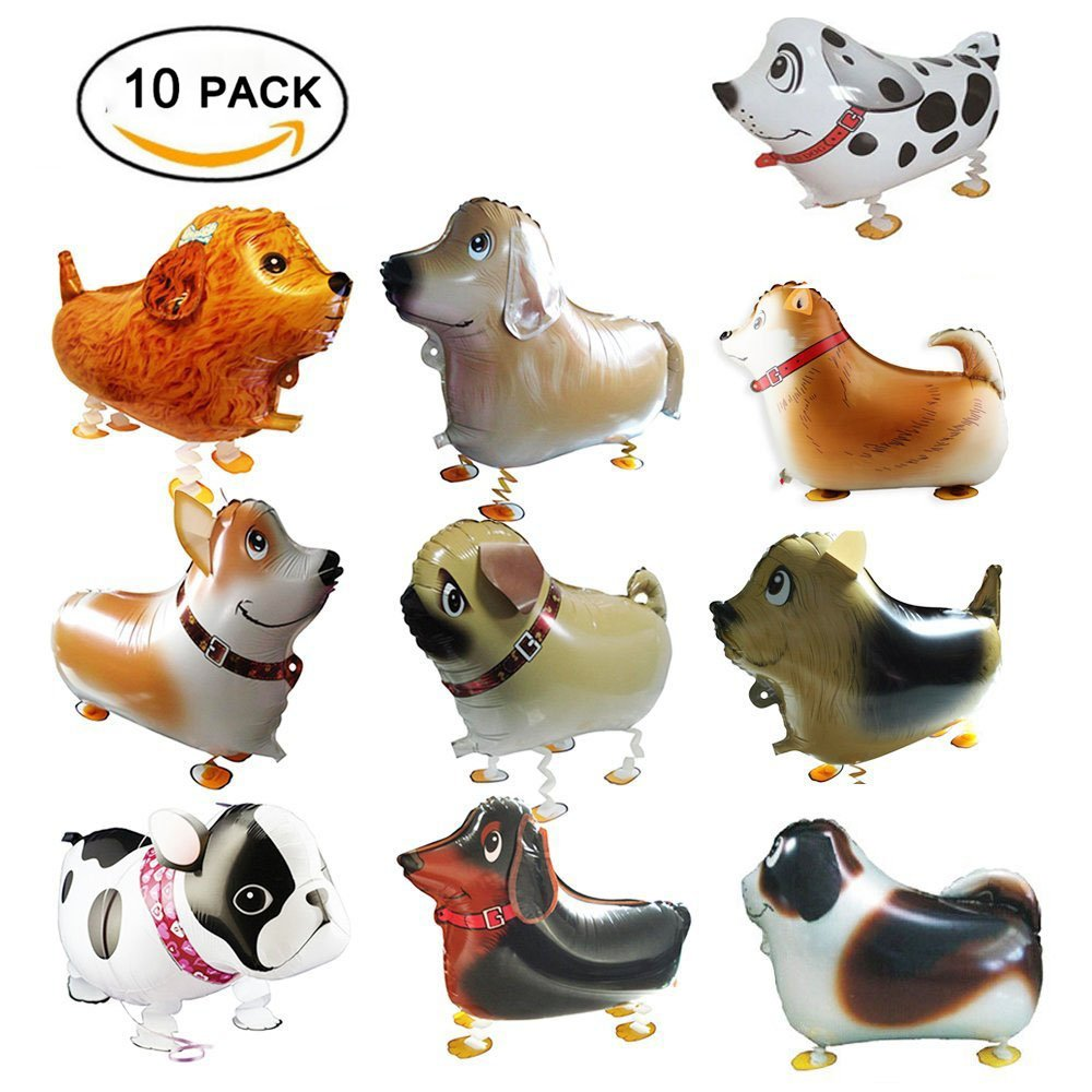 Walking Animal Balloons Pet Dog Balloons, Vinmax 10PCS Puppy Dogs Birthday Party Supplies Animal Theme Balloons Toys Baby Puppy Air Walkers Gift Party Decorations