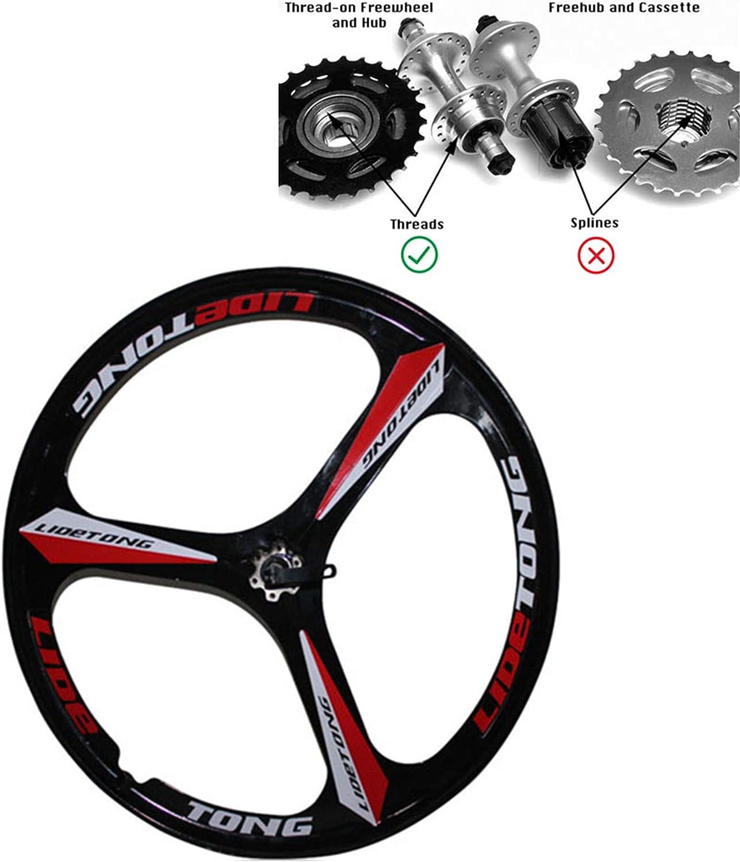 JARONOON Llantas de Bicicleta de montaña de 24/26 Pulgadas Llantas de Bicicleta de aleación de magnesio de 3 radios aptas para Rosca Rueda Libre