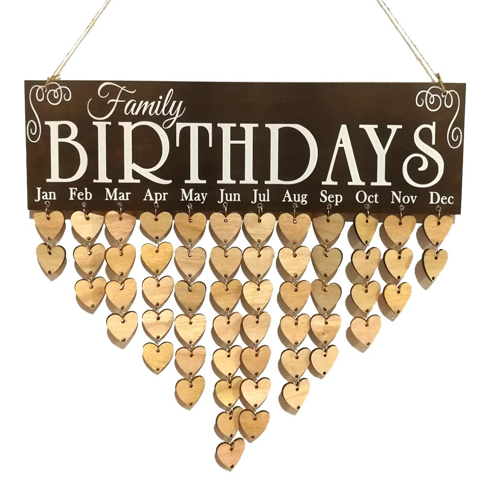 Zehui Home Decoration Wooden Birthday Reminder Board Plaque Sign Hanging Family Love Calendar DIY 8#