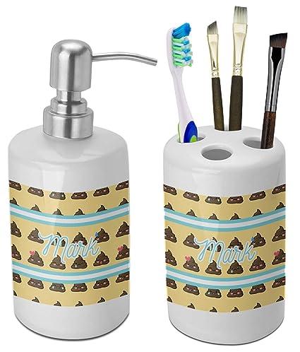 Amazon Com Rnk Shops Poop Emoji Bathroom Accessories Set Ceramic