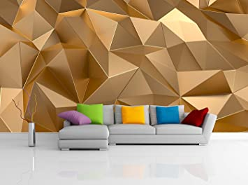 Removable Wallpaper Mural Peel Stick 3d Gold Background Luxury 83h X 124w Amazon Co Uk Office Products