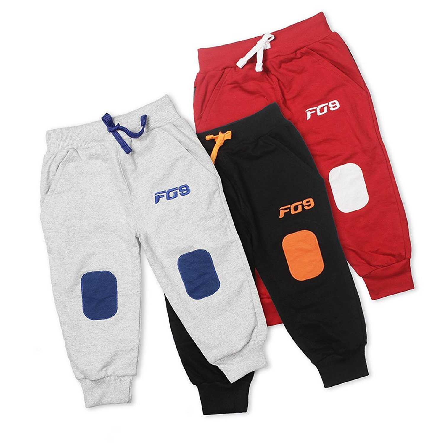 Fingers Pack of 3 Knitted Boys Girls Kids Joggers Sweatpants Cotton Track Pants Pajamas with Knee Patch Detailing