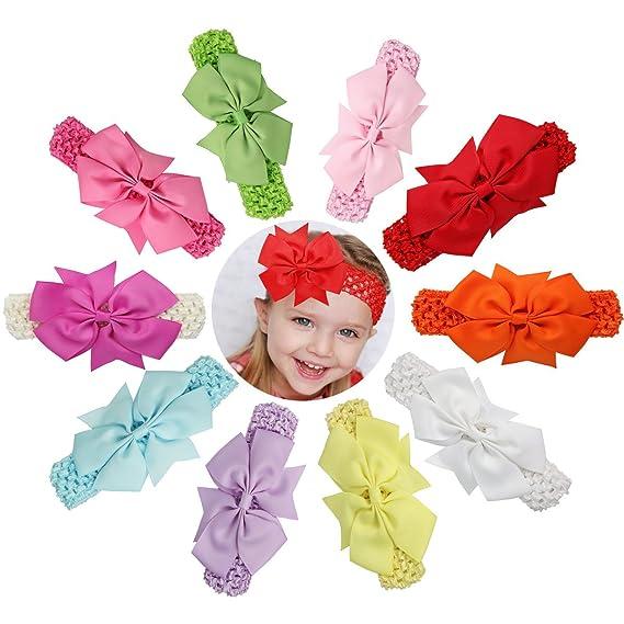10Pcs Chiffon Flower Hair Band Headband Elastic for Baby Girl Infant Toddler IL