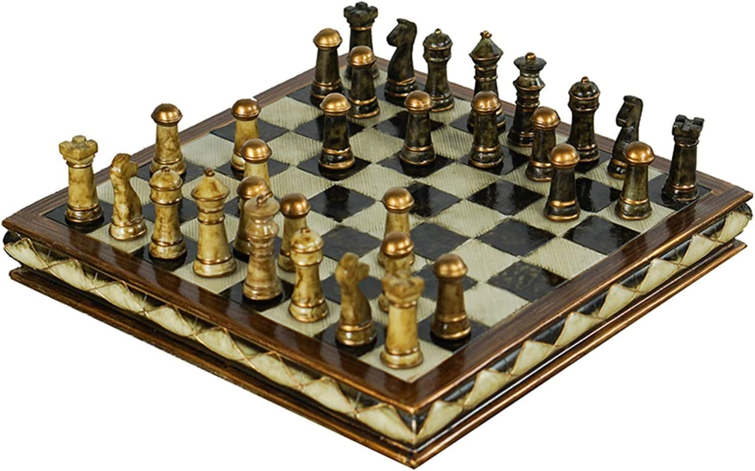 XCYY CHESS SET NEW FOLDING CHESS SET REFINED HIGH-GRADE RESIN WOODEN CHESS SET HANDWORK PIECES CLASSIC DECORATION HOUSEHOLD CHESS SET