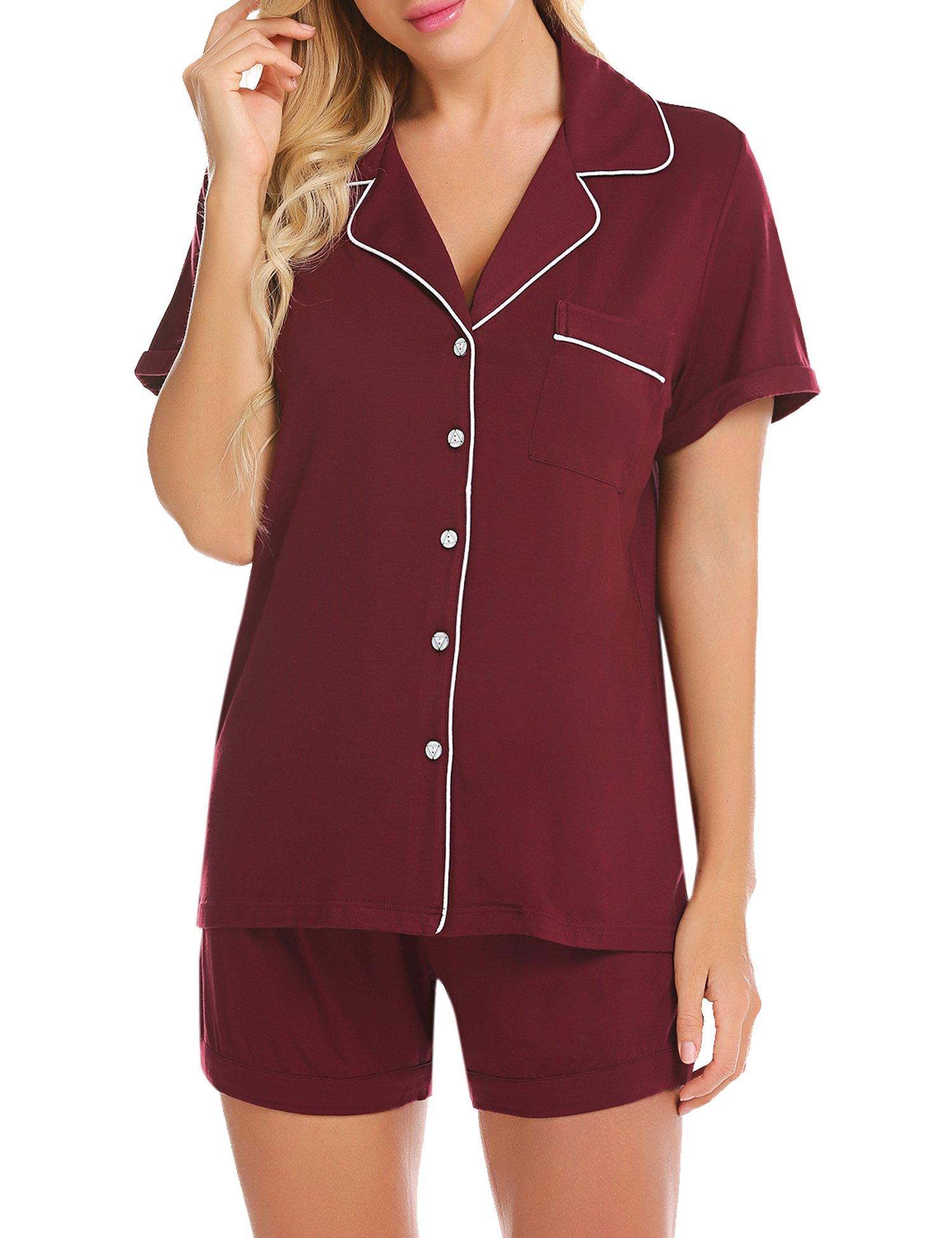 Ekouaer Short Sleeve Lounge Set Women's Sleepwear Button Down Pajama Set (Wine Red,S)