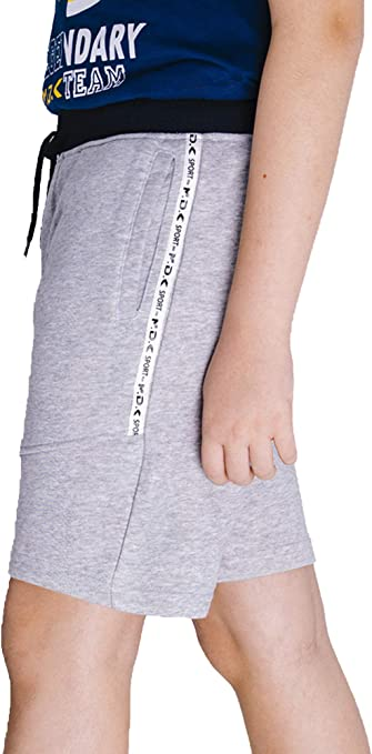 M.D.K Boys Casual Pull On Active Sports Side Stripe Pocket Athletic Shorts