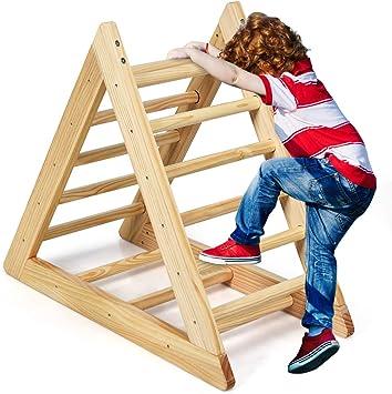 COSTWAY Triángulo de Escalonado de Madera Escalera de Juego para ...