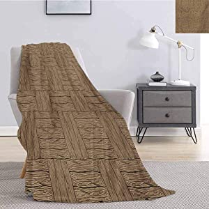YOYI-Home Rustic Sherpa Blanket Throw,Wooden Texture Pattern in Cartoon Drawing Style Abstract Parquet Floor Design,Throw Blankets for Couch W60 x L80 Inch Pale Brown Black