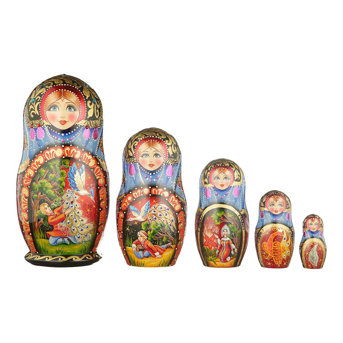 danila-souvenirs Russian Wooden Nesting Dolls Hand Painted Matryoshka 5 pcs Set Fairy Tale 7.5''