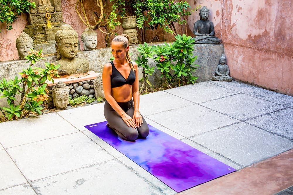 Antideslizante Plegable Lavable a la M/áquina Ecol/ógica Dos en Uno Yoga Design Lab La Esterilla de Yoga Combo 1.5mm