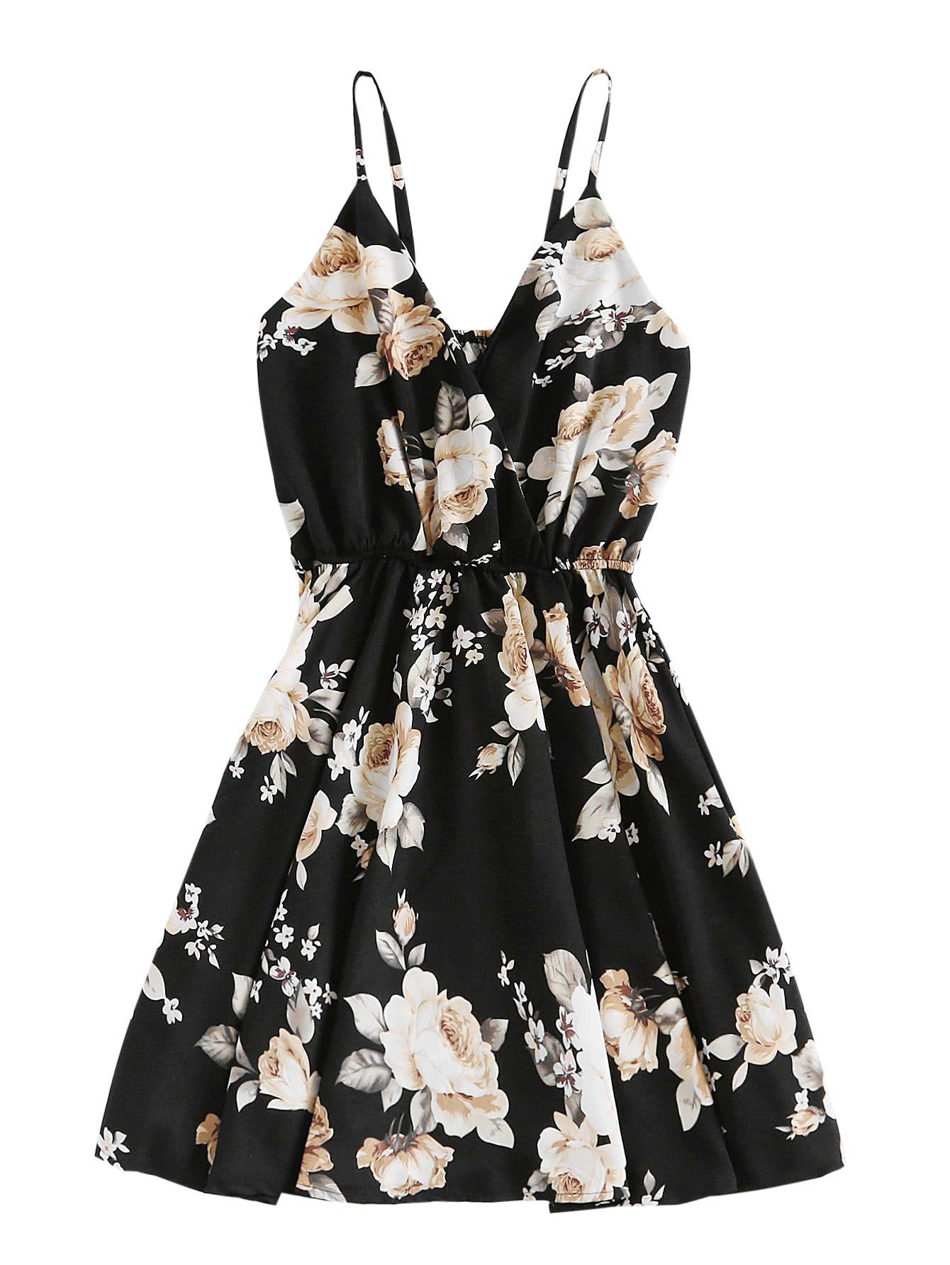 SheIn Women's Casual Boho Summer V Neck Floral Print Cami Dress Black Small