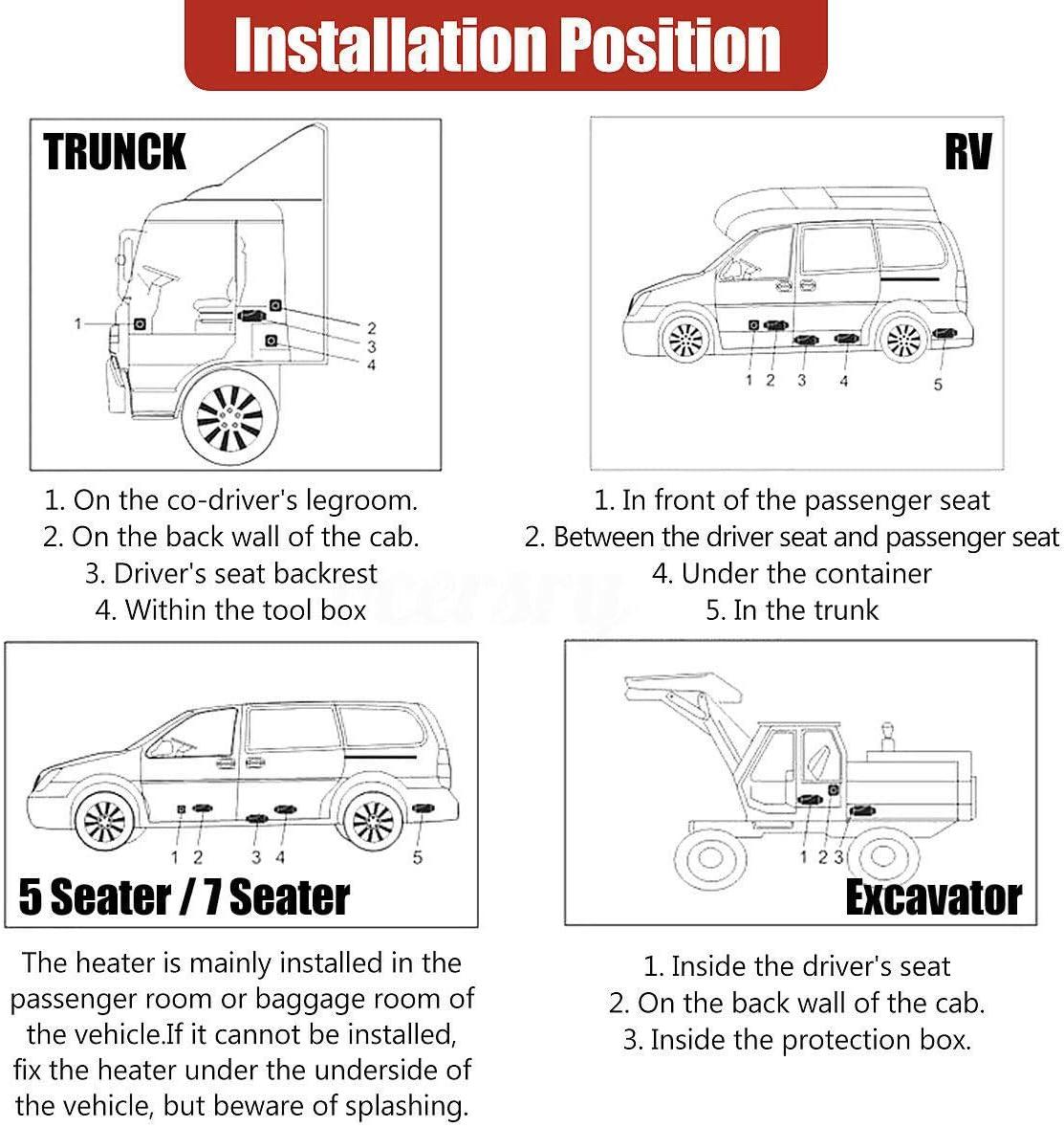 Diesel Standheizung Kraftstoff Standheizung Kompaktes Warmluftgebl/äse Generic Savada 12V 8KW Diesel Lufterhitzer Kit rot