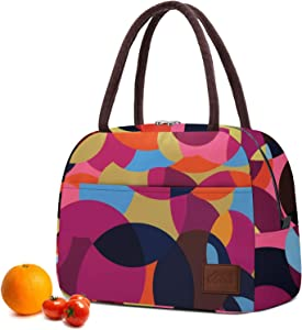Lunch Bags for Women, Insulated Food Containers, Thermal Lunch Box Meal Prep Cooler Tote Loncheras Para Mujer Water-resistant & Reusable Snack Bag for Teen Girls Cute Colorful Polka Dot 10L Moyad