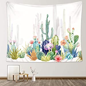 """Zeronal Cactus Tapestry, 59""""x 79"""" Colorful Cacti Succulent Plants Art Landscape Nature Wall Hanging for Bedroom Living Room Dorm Wall Decor"""