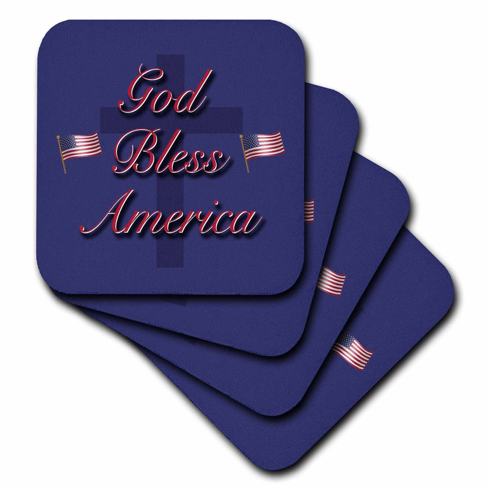 3dRose God Bless America in old glory red and white on a field of old glory blue with USA flags - Soft Coasters, set of 8 (cst_36109_2)