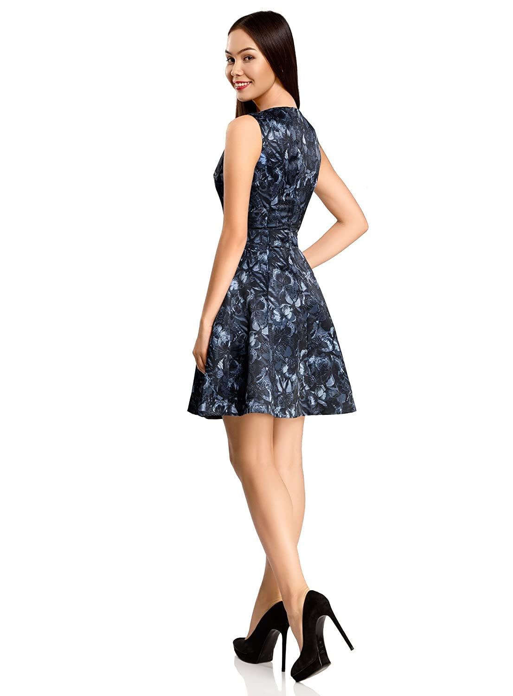 oodji Ultra Women\'s Slim-Fit Dress with Flared Skirt: Amazon.co.uk ...