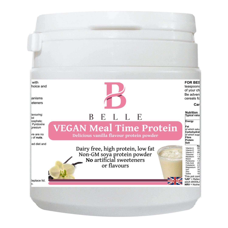 Belle® Vegan Meal time Polvo de proteína de soja - sabor a vainilla Delicious Shake - sin leche, sin gluten y vegano - Shake de proteína de soya sin soja GM ...