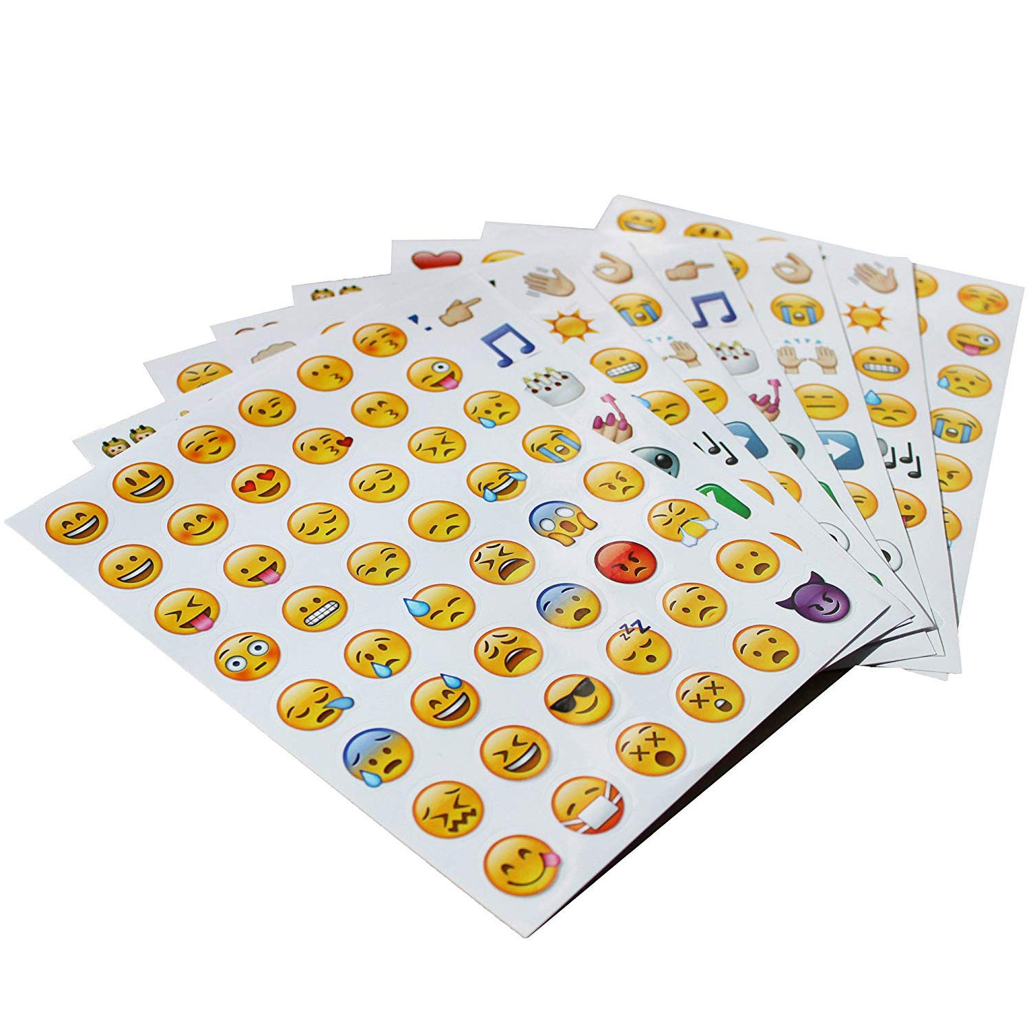 Emoji sticker 8 pages happy face stickers decorative funny emotion faces from facebook iphone amazon ca toys games