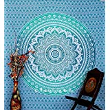 Montreal Tapessier Ombre Blue hippie Tapestry , Bohomein art,bedsheet, Hippie Gypsy Wall Hanging , picknic blanket , New Age Dorm Tapestry (Multi/Black)