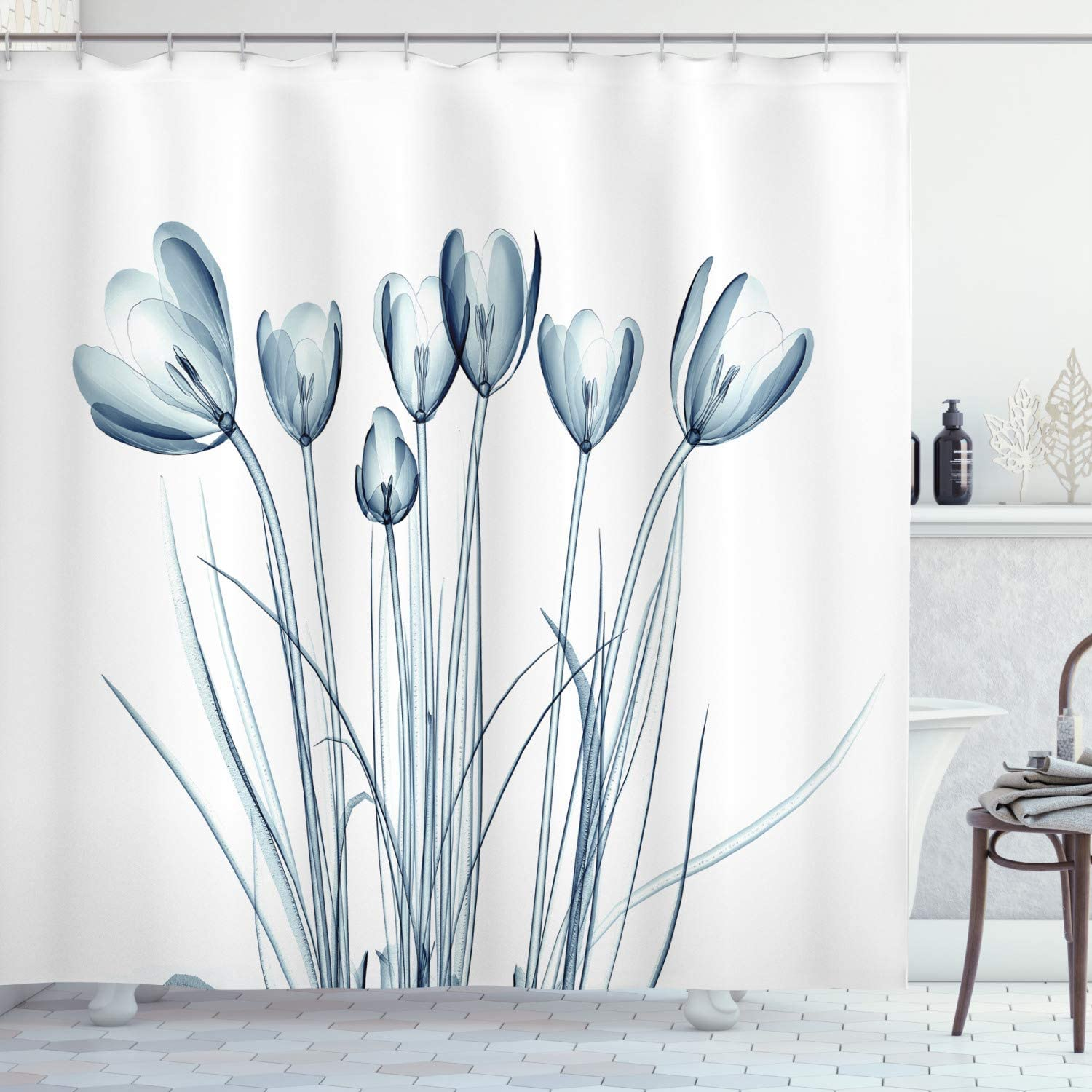 """Ambesonne Flower Shower Curtain, X-ray Image of Tulips Solarized Effect Nature Inspired, Cloth Fabric Bathroom Decor Set with Hooks, 70"""" Long, Petrol Blue"""