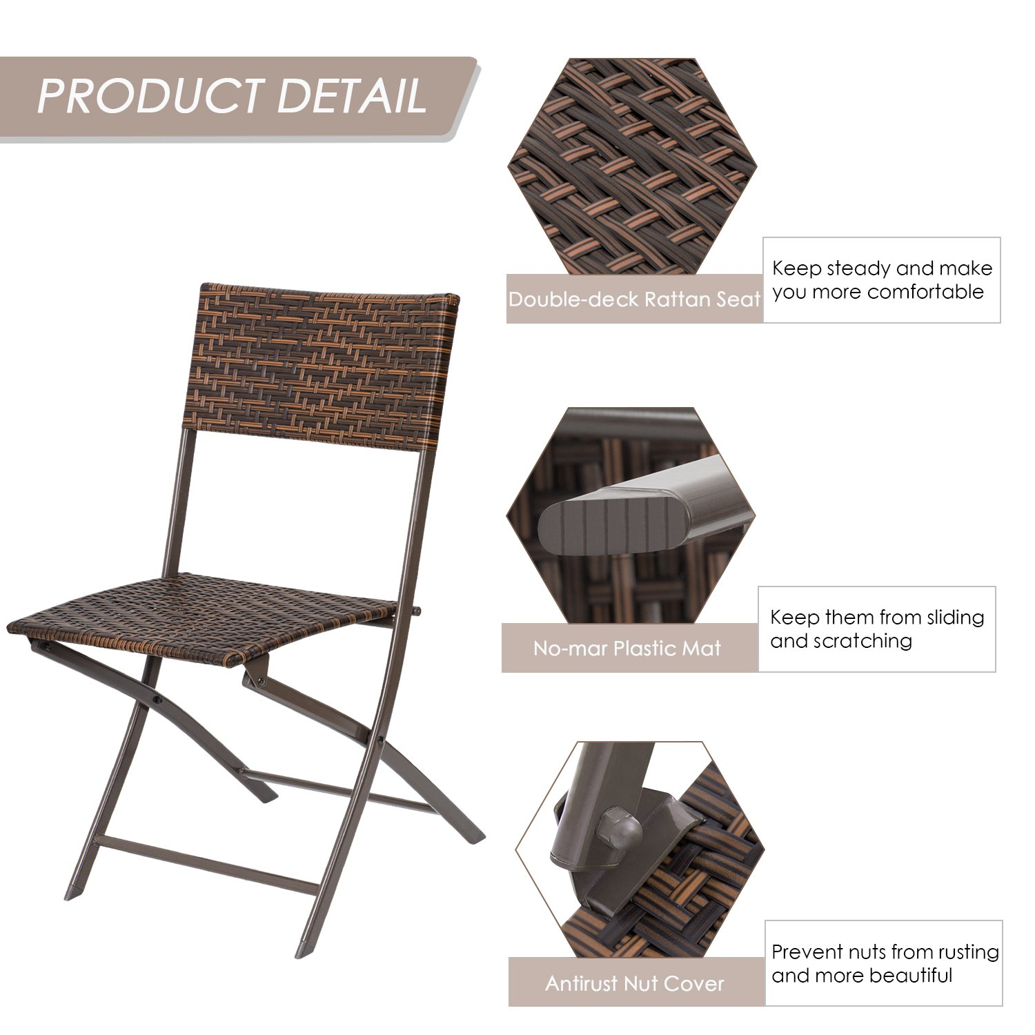 Flamaker Folding Patio Chairs PE Wicker Rattan Chair 4 Pieces Patio Furniture Set by Flamaker (Image #3)