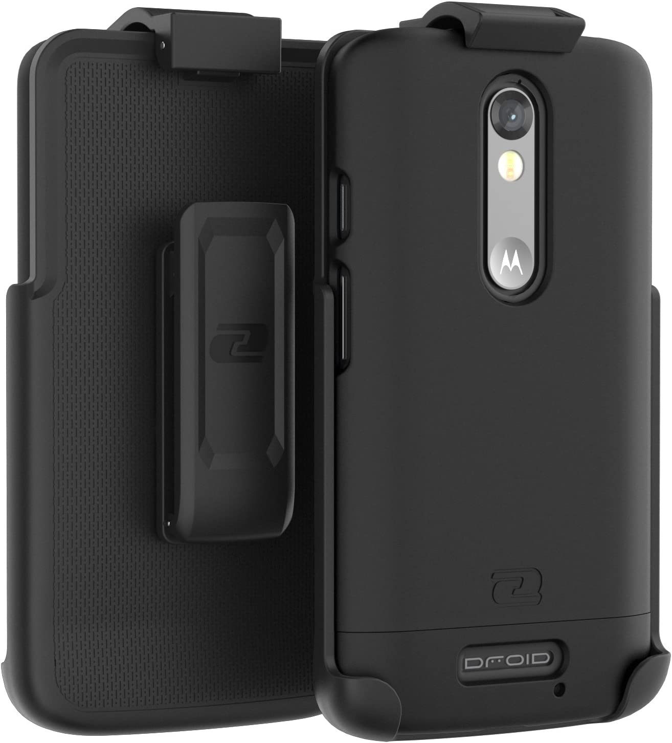 Encased Motorola Droid Turbo 2 Belt Case, Ultra Thin (2016 SlimShield Edition) Secure-fit Holster Clip & Tough Cover (Smooth Black)